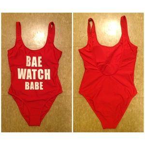 5280172244b California Waves Swim   Bae Watch Babe Slogan One Piece Suit   Poshmark